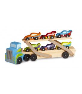 Houten vrachtwagen  met oplegger | met zes raceauto's | Melissa and Doug
