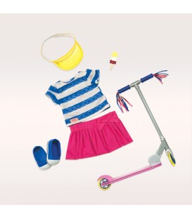Our Generation deluxe outfit Cute to Scoot met step