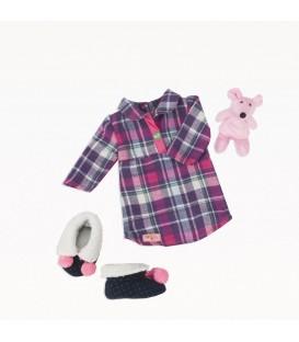 Our Generation outfit pyjama met knuffel en sloffen