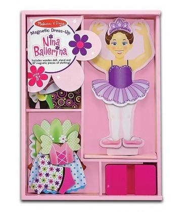Melissa and Doug Nina Ballerina houten aankleedpop 2