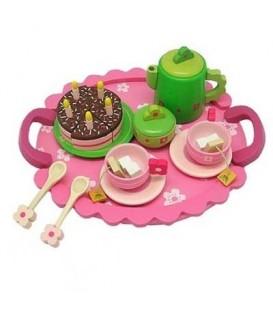 Houten thee servies met taart