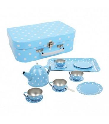 Theeserviesje blauw met witte stippen in koffer -speciaal4kids.nl