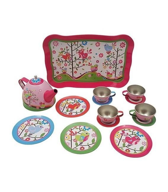Theeservies/picknickkoffer vogeltje en bloemetje 2