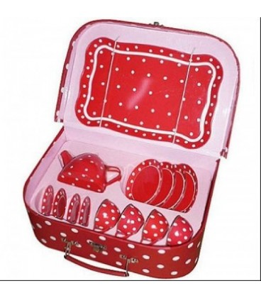 Theeservies in koffer rood met witte stippen 3