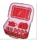 Theeservies in koffer rood met witte stippen
