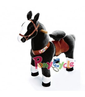 PonyCycle zwart met witte bles. Grote uitvoering