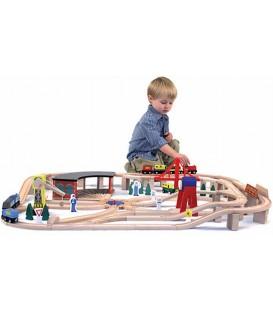 Houten speelgoed | treinset 132 delig | melissa and doug