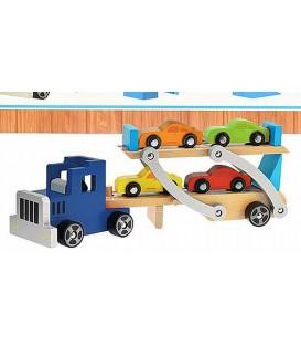 Autotransporter met 4 auto's blauw