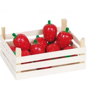 Houten kistje met aardbeien