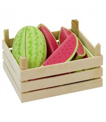 Houten kistje met meloenen