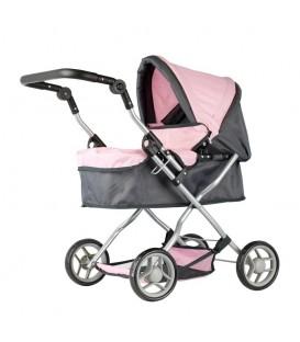 Mini Mommy Poppenwagen roze/grijs