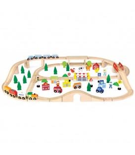 Viga Toys - Houten Trein Set - 90 delen