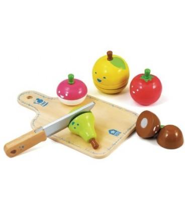 Houten speelgoed fruit en groente met snijplank en mes