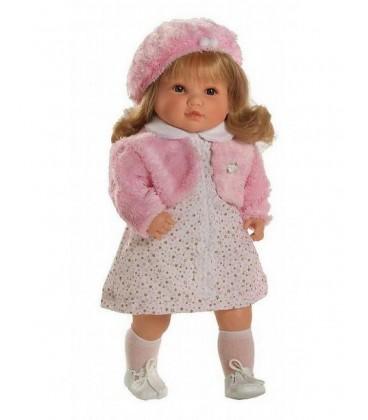 Bebesa Sandra met roze Baret 42 cm