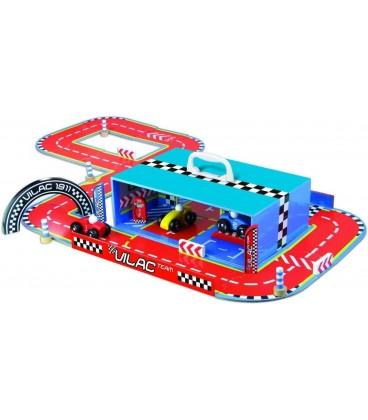 VILAC racebaan met houten auto's en accessoires.
