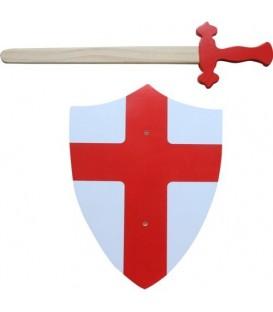Simply for kids houten zwaard en schild-rood