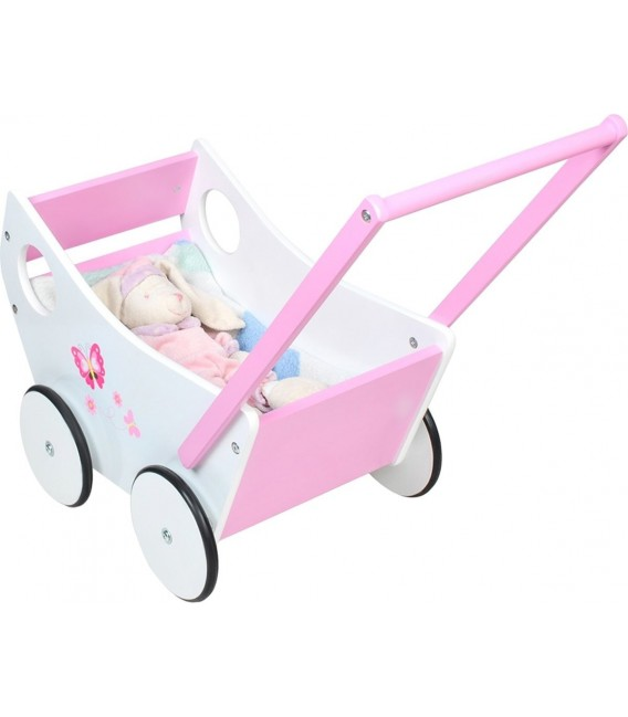 Houten poppenwagen roze/wit met leuke vlinders