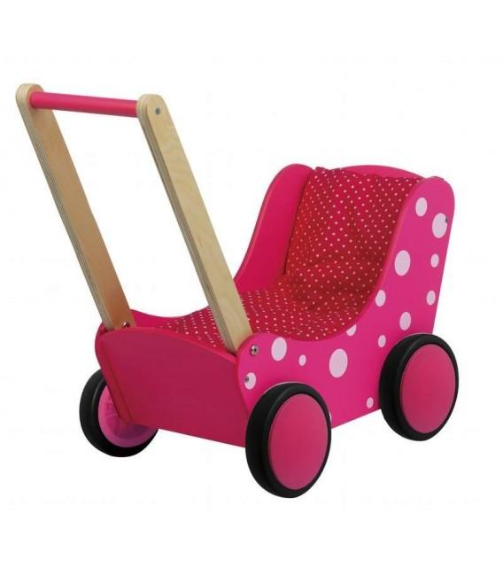 Houten Poppenwagen roze witte stippen | Simply for kids