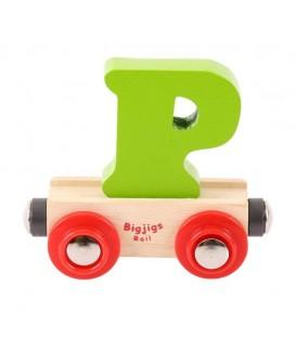 Houten lettertrein | Letter P | Bigjigs