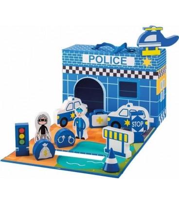 Houten speelset politiebureau | 13-delig set in koffer | Merk: Jouéco