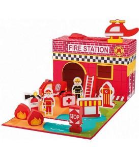 Speelgoed brandweerkazerne | 13-delig set in koffer | Merk: Jouéco