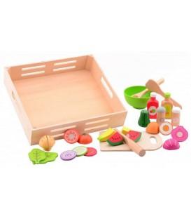 Speelgoed eten | saladeset in houten tray | Jouéco