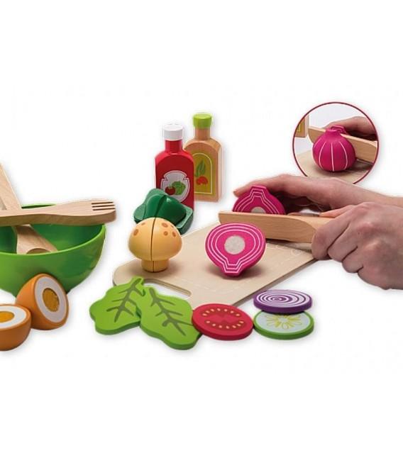 Speelgoed eten   saladeset in houten tray   Jouéco