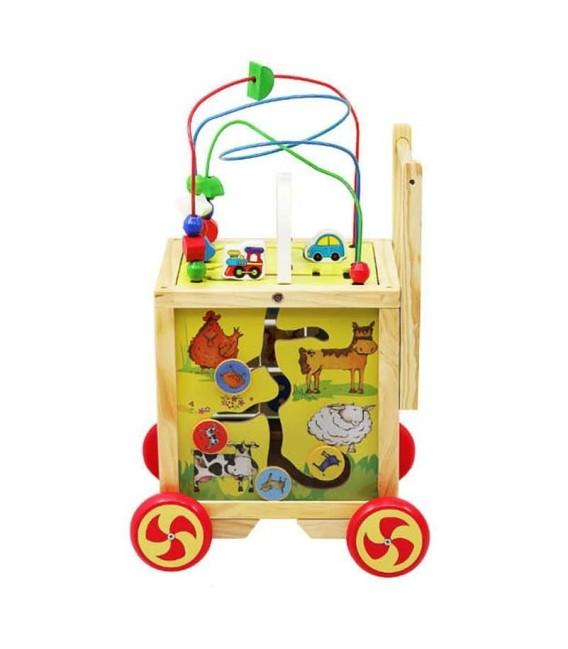 Houten Loopwagen met activiteiten kubus foto 2