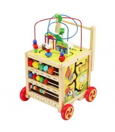 Houten Loopwagen met activiteiten kubus foto 1
