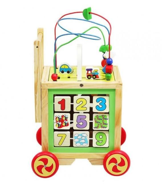 Houten Loopwagen met activiteiten kubus foto 4