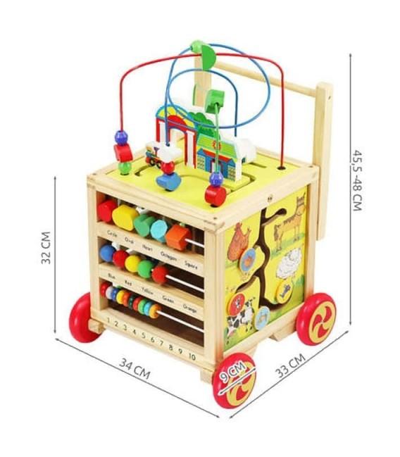 Houten Loopwagen met activiteiten kubus foto 6