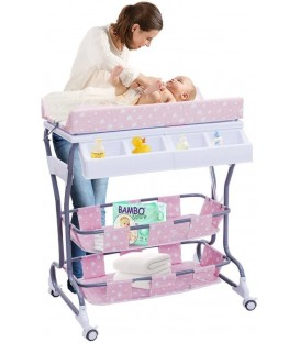 Commode en babybad combinatie in 1 | Mobiele Verzorgingstafel | kleur roze