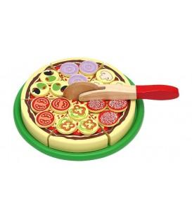 Houten pizza met pizzasnijder en toppings | Speelgoed eten