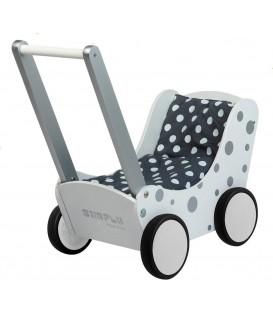 Houten Poppenwagen | wit met zilveren stippen | Simply for kids