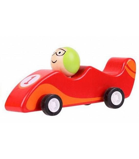 Houten raceauto rood | Pullback systeem | Bigjigs