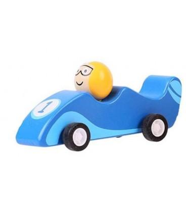Houten raceauto Blauw | Pullback systeem | Bigjigs