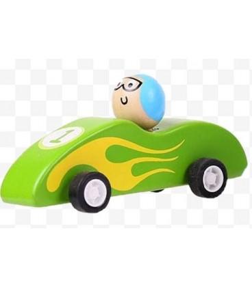 Houten raceauto Groen | Pullback systeem | Bigjigs