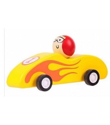 Houten raceauto Geel | Pullback systeem | Bigjigs