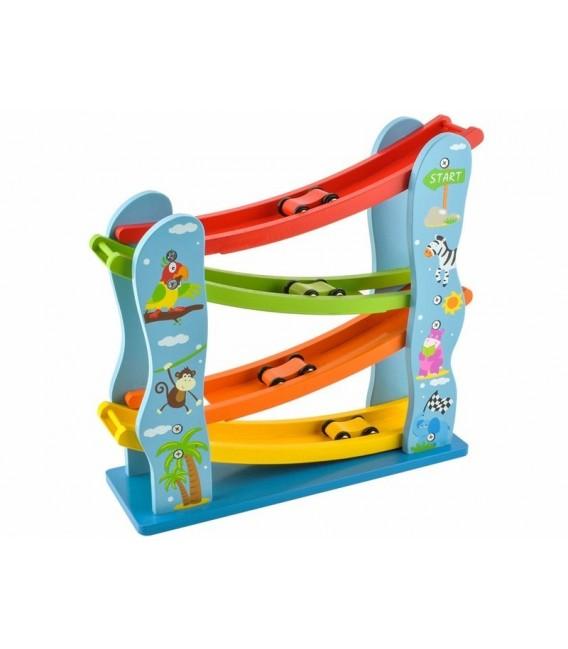 Houten speelgoed autobaan | met 4 houten autootjes | vrolijk gekleurd