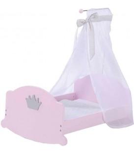 Houten Poppenbed met hemeltje | Prinses Sophie collectie | Merk: Roba