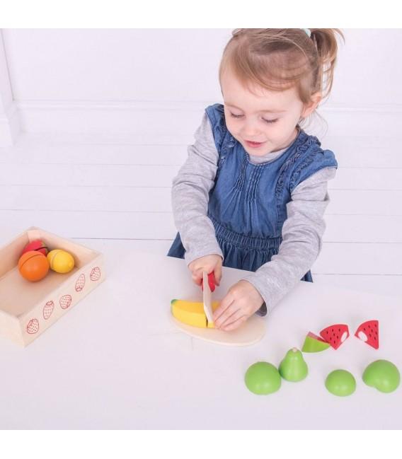 Houten speelgoed Kistje met snijfruit foto 3