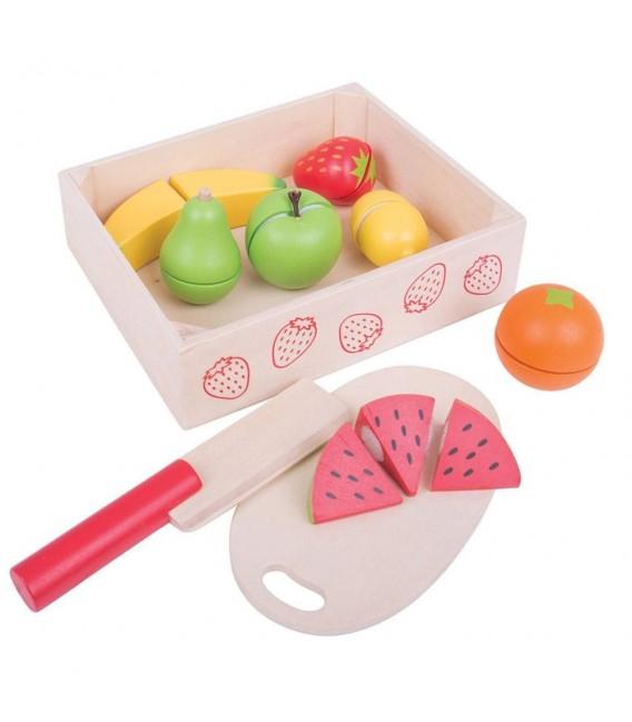 Houten speelgoed Kistje met snijfruit foto 1
