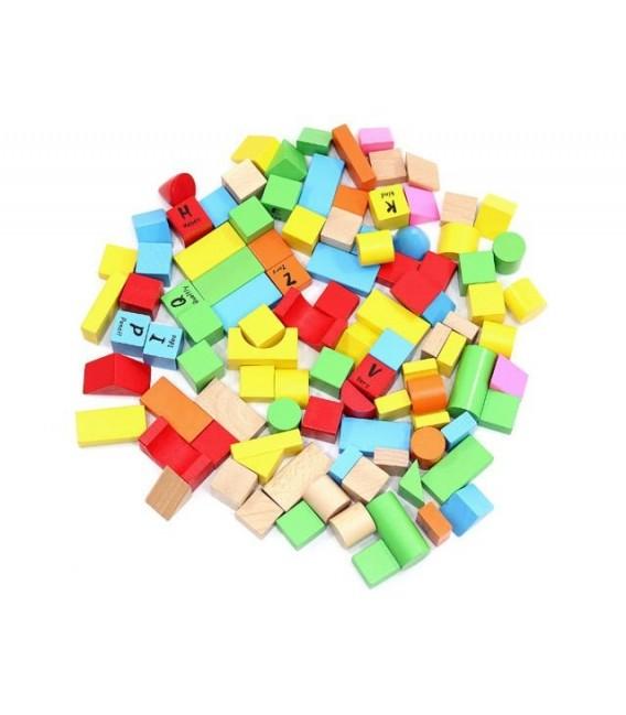 Houten blokken in een ton | met 100 gekleurde blokken