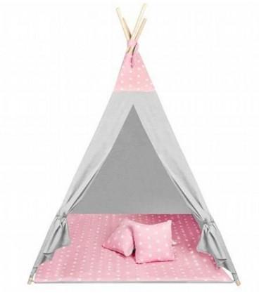 speeltent tipi roze | Met speelkleed en kussens | 160 cm hoog