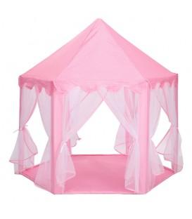 speeltent prinsessen kasteel | Met gordijnen | Zeskanten | Kleur Roze
