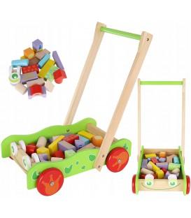 Houten blokkenwagen kikker | loopwagen met blokken | Houten speelgoed
