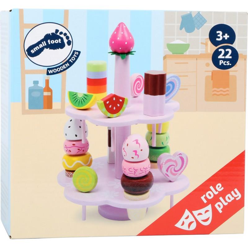 Houten speelgoed ijs Etagère 12 ijsjes diverse smaken