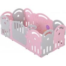 kunststof grondbox met 10 panelen - roze/grijs