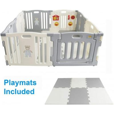 kunststof grondbox/playpen met speelmat - Grijs/wit - playpen