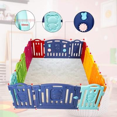 Grondbox gekleurde beertjes   playpen/kruipbox met 14 hekjes